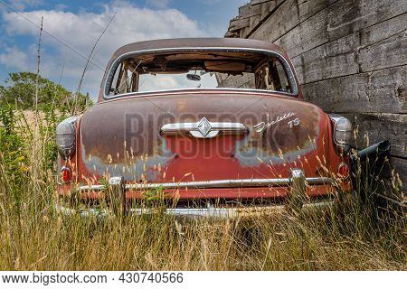 Rush Lake, Sk- August 19, 2021: Rear View Of An Abandoned Borgward Isabella Ts Classic Coupe On The