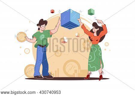 Boy And Girl Holding Blockchain Cubes Vector Illustration. Digital Money, Blockchain Technology, Cry