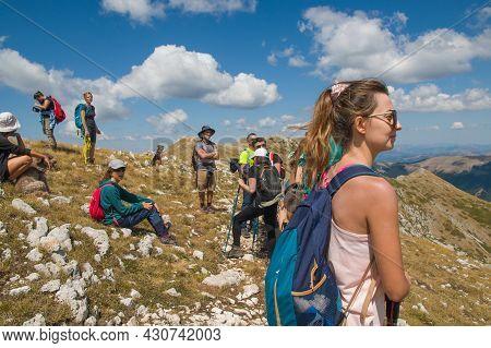 Monte Terminillo, Italy - August 20, 2021: Panoramic View Of The Peak Of Cresta Sassetelli In Lazio