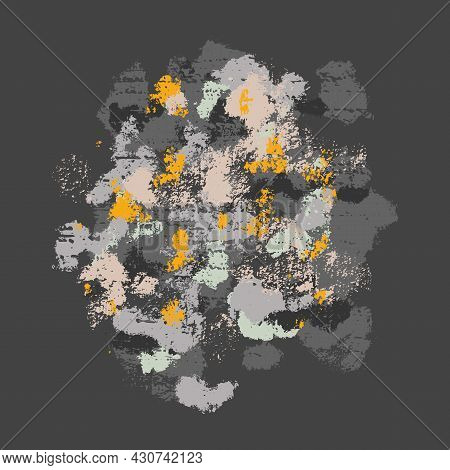 Grunge Illustration Of Natural Pattern. Texture Of The Stone With Moss And Shingles. Vector Image Wi