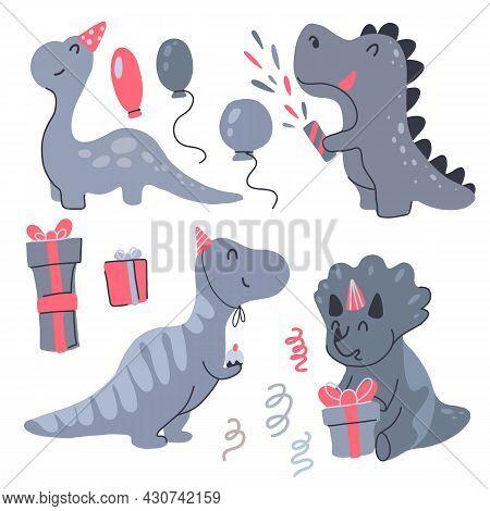 Set Of Happy Little Dinosaurs Celebrate Birthday. Festive Party. Vector Child Cartoon Baby Dino, Bal