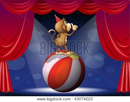 Illustration of a monkey performing in the circus