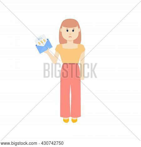 Young Woman With A Huge Bill Invoice In An Envelope Poster