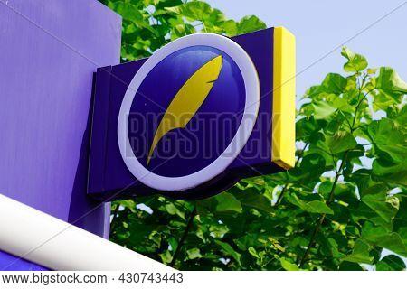 Bordeaux , Aquitaine  France - 08 20 2021 : Maison De La Presse Blue Logo Sign Brand Label Shop Busi