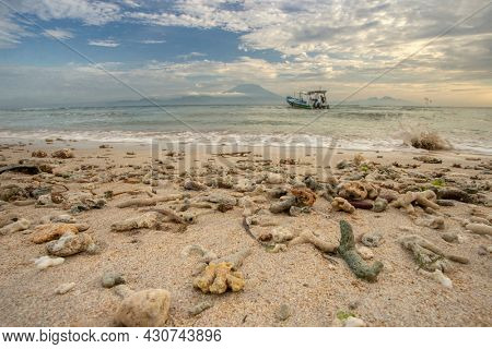 Sea corals boat mountain shore Sea coastline landscape with corals on foreground and on mountain on background