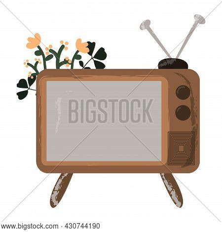 Antique Old Television In Retro Style With Flowers. Tv Vintage Icon. Modern Flat Vector Illustration
