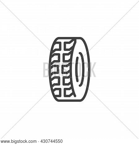 Car Tyre Line Icon. Linear Style Sign For Mobile Concept And Web Design. Car Wheel Outline Vector Ic