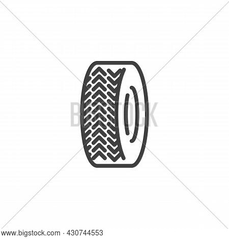 Wheel Tyre Line Icon. Linear Style Sign For Mobile Concept And Web Design. Car Tyre Outline Vector I