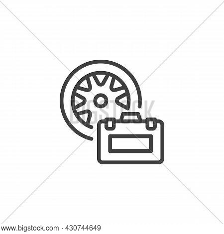 Wheel Repair Kit Line Icon. Linear Style Sign For Mobile Concept And Web Design. Tyre Repair Box Out