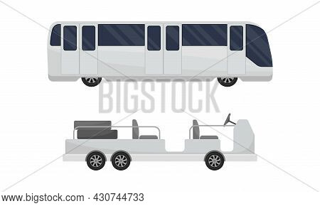 Airport Airfield Vehicles Set. Passenger Bus And Baggage Loader, Airport Infrastructure Elements Vec