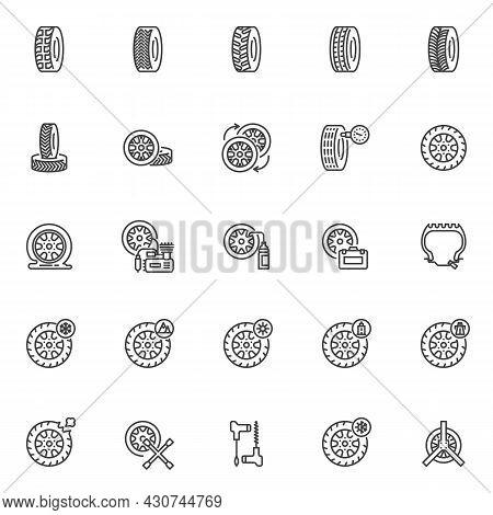 Wheel Repair Line Icons Set. Linear Style Symbols Collection, Outline Signs Pack. Tyre Repair Servic