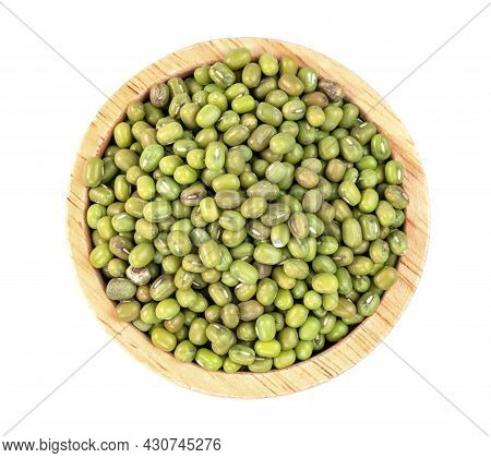 Green Mung Beans With Wooden Bowl Isolated On White Background