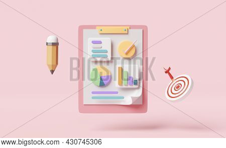 Charts And Graph With Analysis Business Financial Data,white Clipboard Checklist,target,darts,check