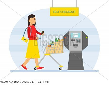 Woman Character With Shopping Cart Paying At Self Checkout With Atm Machine Vector Illustration