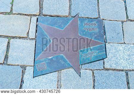 Opole, Poland - June 4, 2021: Star Of Jacek Cygan At Walk Of Fame In Opole Known As Aleja Gwiazd Fes