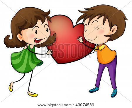 Illustration of a couple holding a heart on a white background
