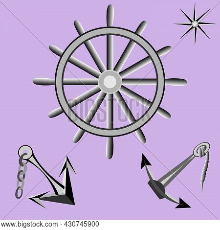 Vector Illustration Depicting Anchors And Nautical Steering Wheel In Vintage Style For Decoration Of