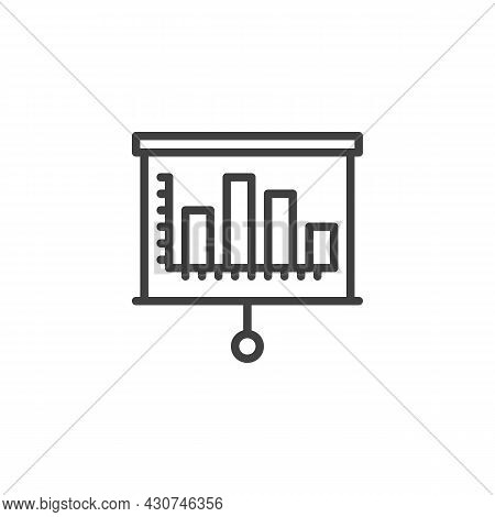 Projector Screen With Graph Line Icon. Linear Style Sign For Mobile Concept And Web Design. Business