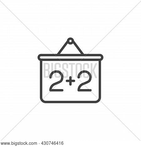 Mathematics Presentation Screen Line Icon. Linear Style Sign For Mobile Concept And Web Design. Two