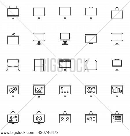 Projector Screen Line Icons Set. Linear Style Symbols Collection, Outline Signs Pack. Presentation S