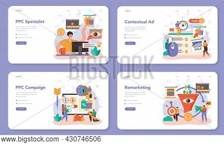 Ppc Specialist Web Banner Or Landing Page Set. Pay Per Click Manager