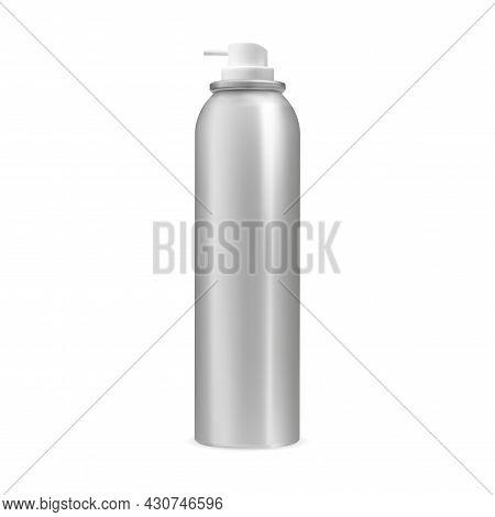 Spray Can. Aerosol Bottle Vector Blank, Silver Container. Aluminum Cylinder Freshener Tube. Realisti