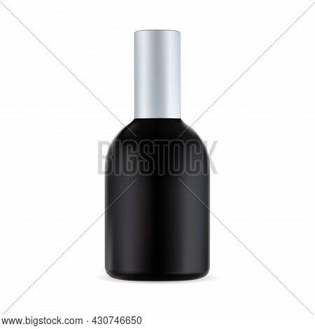 Black Cosmetic Bottle, Hair Treatment Container, Men Product. Barber Black Plastic Shaving Packaging