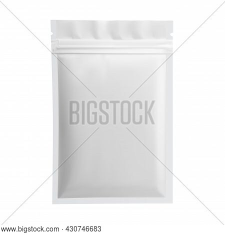 Paper Pouch Vector Blank. White Sachet Package Mockup, Small Template, Sugar Or Tea Container. Pillo
