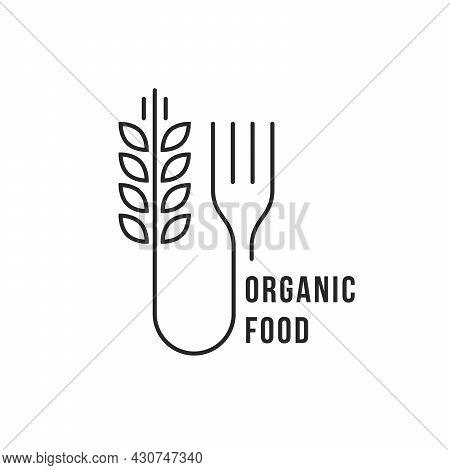 Linear Wheat With Fork Like Organic Food
