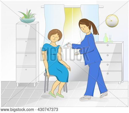 Vaccination Campaign Woman In Hospital Makes Antiviral Injection, Characters Flat Illustration - Nur
