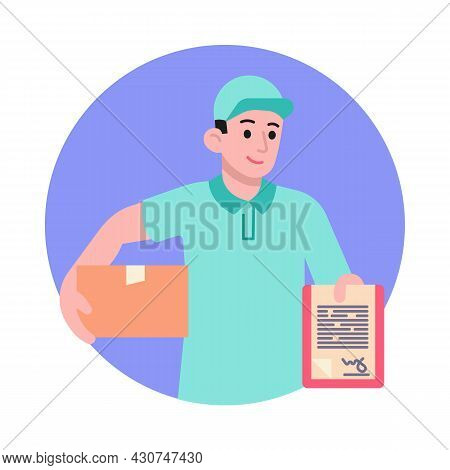 Postman With Box And Clipboard Vector Illustration. Courier Delivery Service Concept. Flat Style Des