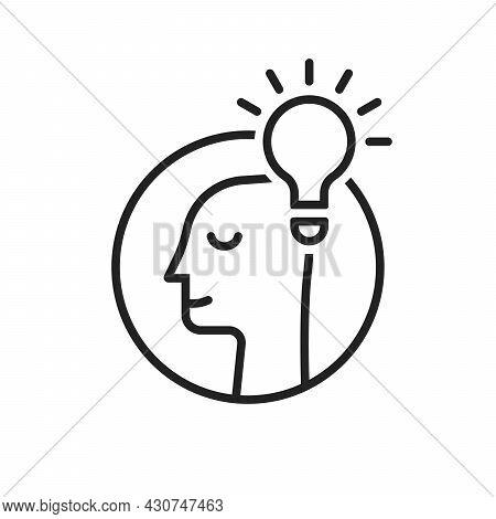 Light Bulb With Head Like Insight Logo