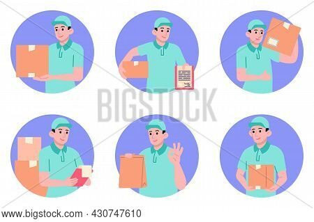 Courier Delivery Service Elements Collection, Flat Icons Set, Colorful Symbols Pack Contains - Food