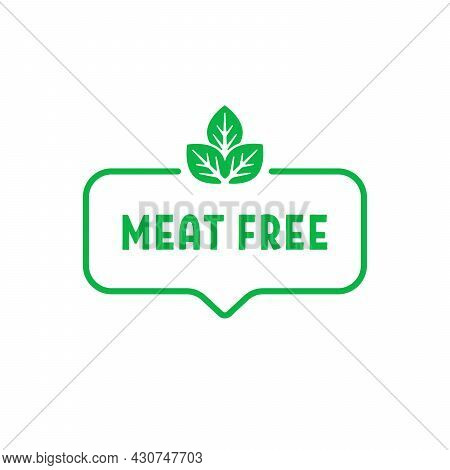 Green Thin Line Simple Meat Free Icon