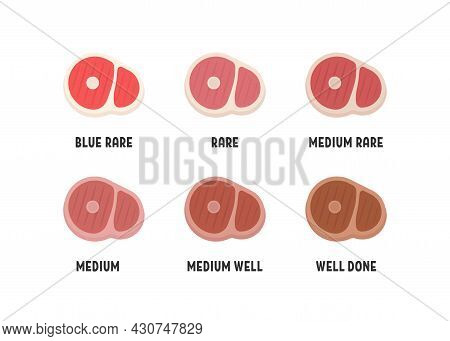 Set Of Different Doneness Of Beef Steak