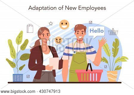 New Employee Adaptation Concept. Personnel Manager Providing