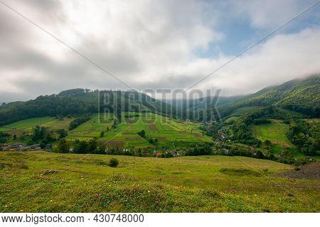 Grassy Meadow In Mountains. Beautiful Carpathian Countryside Landscape In Morning Light. Wonderful R