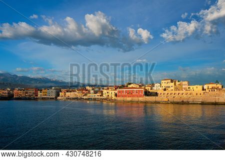 Picturesque old port of Chania is one of landmarks and tourist destinations of Crete island in the morning on sunrise. Chania, Crete, Greece