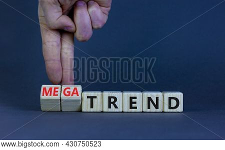 Trend Or Megatrend Symbol. Businessman Turns Wooden Cubes And Changes Words Trend To Megatrend. Beau