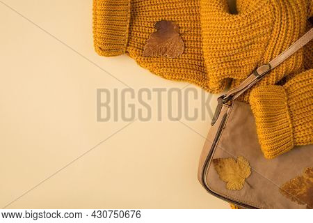 Top View Photo Of Orange Knitted Pullover Brown Autumn Leaves And Leather Handbag On Isolated Beige