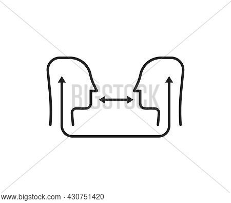 Verbal Interaction Or Linear Empathy Logo. Concept Of Support Therapy Or Psychoanalysis And Sympathy