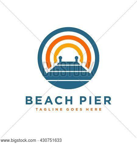 Wooden Dock Illustration Logo Design On The Lake
