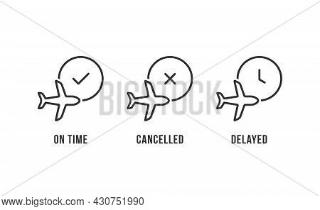 Thin Line Three Airport Information Icons. Simple Style Trend Modern Stroke Minimal Logotype Graphic