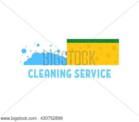 Cleaning Service With Cartoon Kitchen Sponge. Simple Flat Style Trend Modern Graphic Design Isolated