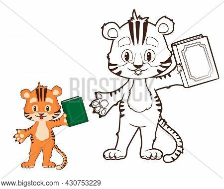 Coloring Book: Tiger Cub Holds A Book In His Hand. Vector Illustration In Cartoon Style, Black And W