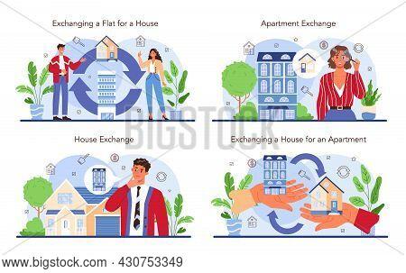 Real Estate Agency Service Set. Qualified Realtor Or Broker Service.