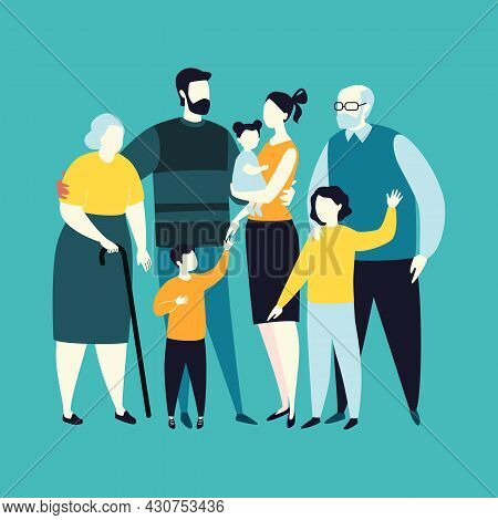 Large Happy Multi-generational Family Portrait Of Relatives; Parents And Children; Siblings; Grandpa