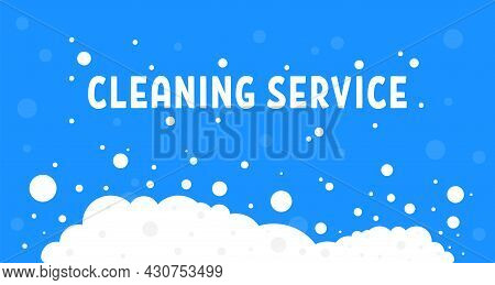 Cartoon Cleaning Service With White Foam. Simple Flat Style Trend Modern Graphic Art Design Element