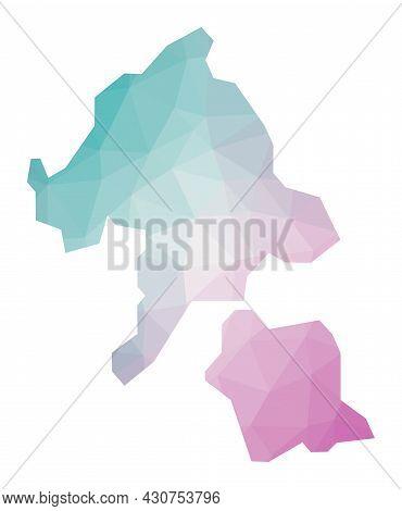 Polygonal Map Of Aka Island. Geometric Illustration Of The Island In Emerald Amethyst Colors. Aka Is