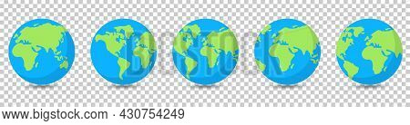 Earth Globes Collection. Vector Illustration Isolated On Transparent Background